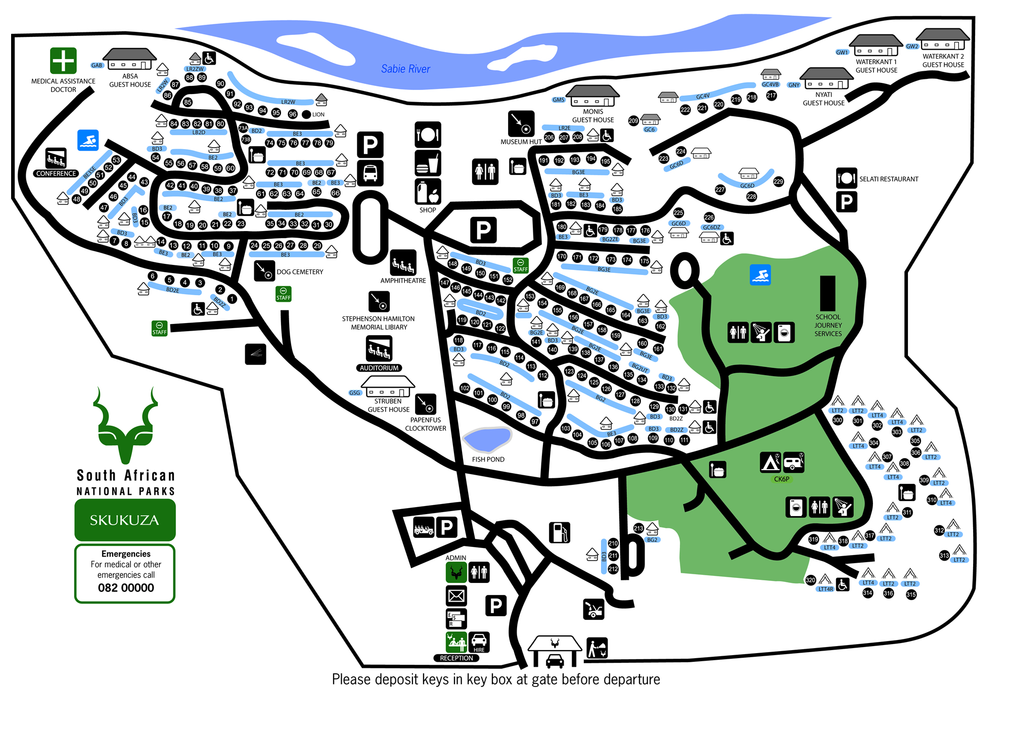 Kruger National Park Map With Camps 7c Kruger National Park