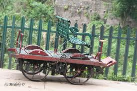 Old Railway Trolley with Garden Bench